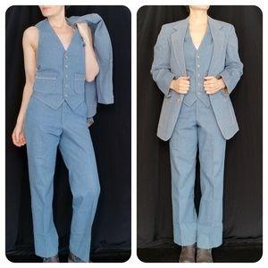 Vintage Denim 3pc Suit sz M